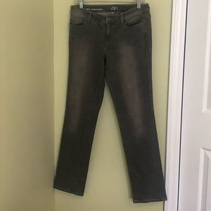 Modern straight grey jeans.